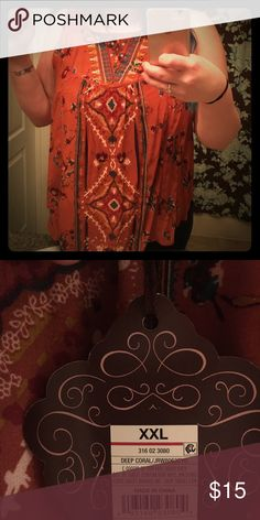 NWT Flirty Floral Top Cute floral print top on a burnt orange background. Looks cute with a pair of skinny jeans or paired with a black jacket or blazer! Tops Blouses
