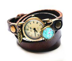 Wickel-Armband-Uhr im Vintage-Look