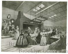 The New England Kitchen of the Brooklyn Sanitary Fair, 1864. Lithograph of room in former Brooklyn Academy of Music Building on Montague Street or the adjacent building where the Women's Relief Society held a sanitary fair 1864 to benefit the Union war effort.