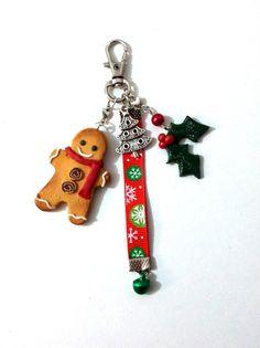 Bijoux de sac Noël gingerbread, porte clé Noël de Passionnella sur DaWanda.com
