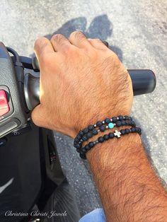 Men's Bracelet, Black Beads Bracelet, Men's Jewelry, Made in Greece, by Christina Christi Jewels. Bohemian Bracelets, Bracelets For Men, Beaded Bracelets, Men's Accessory Box, Diamond Jewelry, Men's Jewelry, Jewellery, Turquoise, Metal Beads