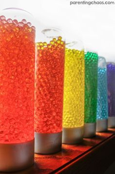 Water Bead Sensory BottlesTap the link to check out great fidgets and sensory toys. Check back often for sales and new items. Happy Hands make Happy People! Sensory Tubs, Sensory Rooms, Sensory Boards, Sensory Bottles, Baby Sensory, Sensory Activities, Infant Activities, Sensory Play, Activities For Kids