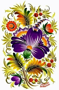 Петриковская роспись Detailed Photo Of Item One Stroke Painting, Tole Painting, Fabric Painting, Russian Folk Art, Ukrainian Art, Folk Art Flowers, Flower Art, Art Floral, Bordado Popular