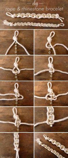 DIY Rhinestone & Rope Bracelet by meme4eas1968