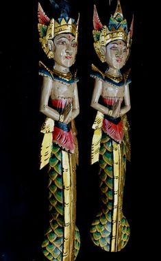Mermaid Wall Art, Indonesian Art, Hand Carved, Carved Wood, Asian Doll, Traditional Fashion, Touch Of Gold, Tribal Fashion, Balinese
