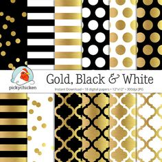 Gold Foil Digital Paper  Gold Black & White gold by pickychicken