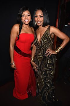 Actresses Taraji P. Henson (L) and Angela Bassett attend the 46th NAACP Image Awards presented by TV One at Pasadena Civic Auditorium on February 6, 2015 in Pasadena, California.