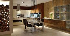 Brick backsplash ideas – a charming rustic touch in the interior Luxury Kitchen Design, Interior Design Kitchen, Wooden Table Lamps, Wood Storage, Glass Shelves, Modern Design, Furniture, Kitchens, Home Decor