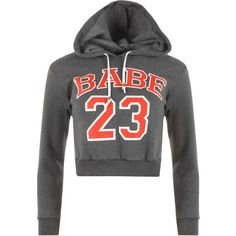Kagami Babe 23 Cropped Hoodie ($19) ❤ liked on Polyvore featuring tops, hoodies, dark grey, cropped hoodies, hooded pullover, dark grey hoodie, print hoodies and hoodie crop top