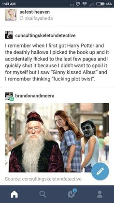 LOL it took me a moment to realise she ment her chuld Albus severus😂 - Harry potter - Ginny Weasley, Harry Y Ginny, Albus Severus Potter, Harry Potter Jokes, Harry Potter Fandom, Hufflepuff Pride, Ravenclaw, Funny Memes, Hilarious