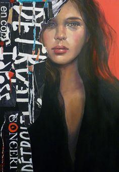 """French Artist: Pascale Taurua; Oil 2015 Painting """"LE ROUGE ET LE NOIR"""""""