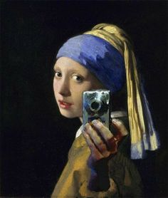 Vermeer - in the Age of Social Media    The idea of creating a movement, where people have this constant need of connecting with others around them or around the world. the artwork demonstrates one aspect of social media.