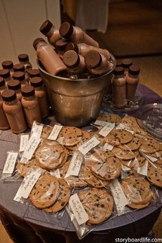 Cookies and Milk Party Favors.  Love this idea!  What kind of party to throw where this would work though...