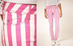 Pink stripe pants.