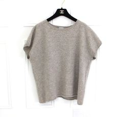 c05970d0f0f Details about The White Company Grey Pure Cashmere Striped Boxy Lagenlook  Jumper Top XL 16 18