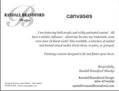 Back of art show intro card - Randall Brandford