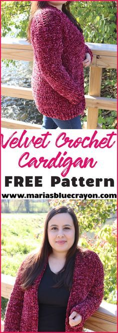 Crochet Velvet Cardigan Sweater – Free Pattern – Maria's Blue Crayon Super cozy and easy crochet cardigan with Bernat Velvet yarn. Get the free pattern. Bernat Yarn, Chunky Crochet, Crochet Yarn, Crochet Sweaters, Free Crochet, Crochet Shrugs, Crochet Scarfs, Crochet Tops, Amigurumi