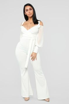 Available In Ivory, Red And BlackCold Shoulder JumpsuitSurplice NecklineChiffon SleeveTie Waist BeltWide Polyester SpandexMade in USA Thick Girls Outfits, Outfits For Teens, Girl Outfits, Cute Outfits, Fashion Outfits, Party Outfits, Girls Jeans, Sexy Outfits, Women's Fashion