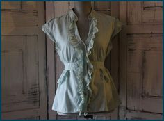 Anthropologie Odille Blouse Size 10 Button Down Ruffles Shift Wear To Work
