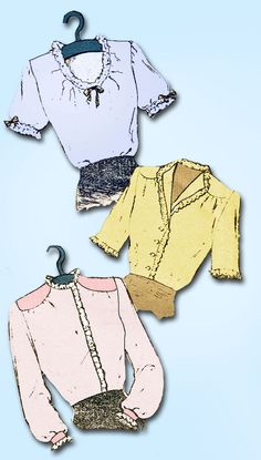 1940s Vintage Mail Order Sewing Pattern 2513 Misses WWII Blouse Set Size 14 32B #MailOrder #1940sBlousePattern