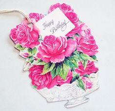 Birthday Roses  Set of 3  Gift Tags  Birthday Bouquet by SiriusFun