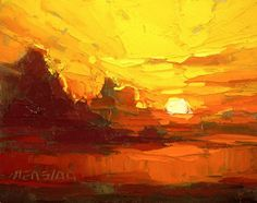 """Expanse by David Mensing. He paints here with simply oranges and yellows. However he has created so many colors within this range that there is a shift in space. The painting is not flat at all. The """"muddied"""" brownish green marks are small, giving the mark making a varying size, but they are also crucial because they allow for your eye to further break up the image. Therefore, the image is more easily read."""