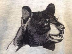 Adult Sweatshirt Black Bear Embroidery Design Gray Large Hanes Comfort Blend   #Hanes #Sweatshirt
