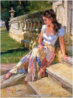 (Russia) In Calella, 2006 by Vladimir Volegov (1957- ). Oil on canvas. 76×102cm