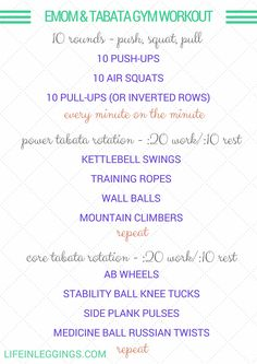 Check out this full week of workouts along with this every minute on the minute push, squat, pull and tabata training gym workout. Video demos included!