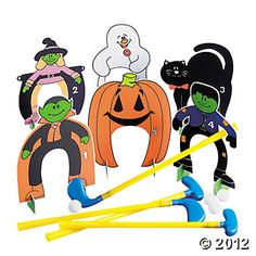 Golf School Halloween Golf Set - Oriental Trading - Get your Halloween party swinging with this ghastly Halloween Golf Game. Includes four clubs, 13 corrugated plastic markers with black cat, m . Golf Halloween, Halloween Carnival Games, Halloween Party Activities, Halloween Games For Kids, Fall Carnival, Fairy Halloween Costumes, Halloween Party Favors, Halloween Festival, Halloween Themes