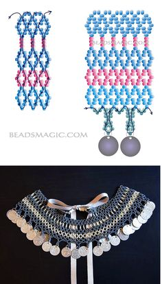 Free pattern for necklace Samira with coins | Beads Magic
