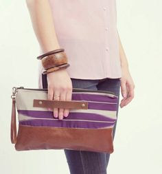 {Oversized Clutch - Leather} Grace Design - love the hand grasp band!