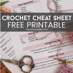 Crochet Cheat Sheet Free Printable Crochet Abbreviations, Crochet Stitches, Crochet Instructions, Crochet Tutorials, Crochet Ideas, Free Crochet, Knit Crochet, Crochet For Beginners