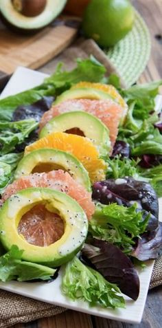{Avocado and citrus salad with lime poppyseed dressing.}