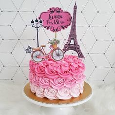 Paris Birthday Cakes, Paris Themed Cakes, Paris Themed Birthday Party, 10 Birthday Cake, Paris Cakes, Paris Party, Paris Desserts, Bolo Paris, Sailor Moon Cakes
