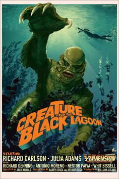 """Creature from the Black Lagoon by Stan & Vince. 24""""x36"""" screen print"""