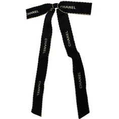 Pre-owned Chanel #3990 Black Cc Logo Long Ribbon Bow Brooch ($175) ❤ liked on Polyvore featuring jewelry, brooches, accessories, bow, scarves, tie, none, chanel, pin brooch and long jewelry
