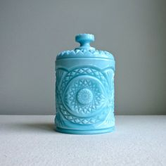 Vintage Blue Milk Glass Vase Cracker Jar with Lid - Large Cylindrical with Star…