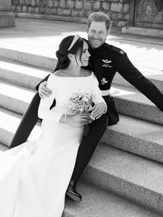 This official wedding photograph released by the Duke and Duchess of Sussex shows the Duke and Duchess pictured together on the East Terrace of Windsor Castle. via @AOL_Lifestyle Read more: https://www.aol.com/article/entertainment/2018/05/21/royal-wedding-kensington-palace-releases-official-portraits-of-meghan-markle-prince-harry-and-royal-family/23439876/?a_dgi=aolshare_pinterest#fullscreen