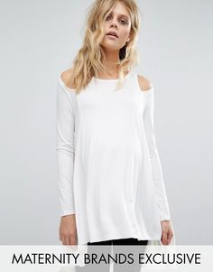 Buy it now. Bluebelle Maternity Cut Out Shoulder Long Sleeve Jersey Top - White. Maternity top by Bluebelle Maternity, Soft-touch jersey, Round neck, Cold-shoulder design, High-low hem, Longline cut to cover your growing bump, Regular fit - true to size, Designed to fit through all stages of pregnancy, Machine wash, 96% Viscose, 4% Elastane, Our model wears a UK 8/EU 36/US 4 and is 180cm/5'11 tall, Exclusive to ASOS. ABOUT BLUEBELLE MATERNITY Bluebelle Maternity is upping your maternity game…