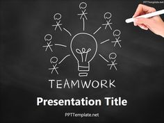 874b3dedb55 Free Teamwork Bulb Chalk Hand PPT Template Business Ppt Templates