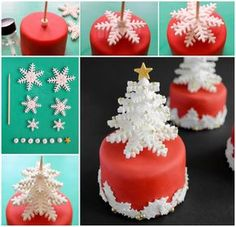 HOW TO MAKE SNOWFLAKE TREES...out of Fondant! These are beautiful Christmas cupcakes!!