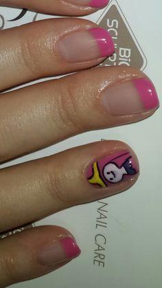 Pink Princess French gel nail art
