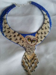"""Hand beaded choker """"Night """"Flight"""" by Shawn Stover, Catawba Native Designs on Etsy---I wouldn't wear it but wow, that is talent Owl Jewelry, Seed Bead Jewelry, Beaded Jewelry, Jewellery, Beaded Choker, Beaded Earrings, Jewelry Patterns, Beading Patterns, Art Perle"""