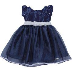 Vestido Infantil De festa Azul-Marinho com Pérolas Liminha Doce