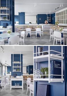 The design of this contemporary cafe in Australia was inspired by Kate Middleton and features royal blue walls, intricate details and pastel furnishings. Blue Cafe, White Cafe, Coffee Shop Design, Cafe Design, Royal Blue Walls, Cafe Interior, Interior Design, Hostels, Timber Mouldings