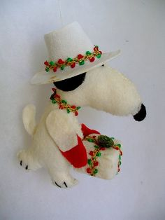 Craft - 1970s Snoopy Christmas Ornament vintage handmade felt white hat and red and green trim with Gift