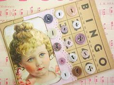 Little Miss Antique China Baby Doll Button Card by nickelnotions