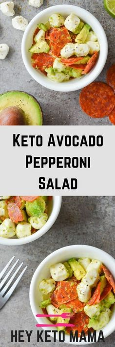 This Keto Avocado Pepperoni Salad is an easy, flavorful dish that takes just minutes to put together. It makes the perfect keto lunch!   heyketomama.com