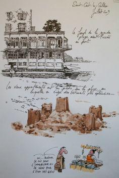 Une Bretagne par les contours/Saint-Cast-Le Guildo Voyage Sketchbook, Travel Sketchbook, Artist Sketchbook, Cool Sketches, Drawing Sketches, Drawings, Sketch Painting, Watercolor Sketch, Art Du Croquis